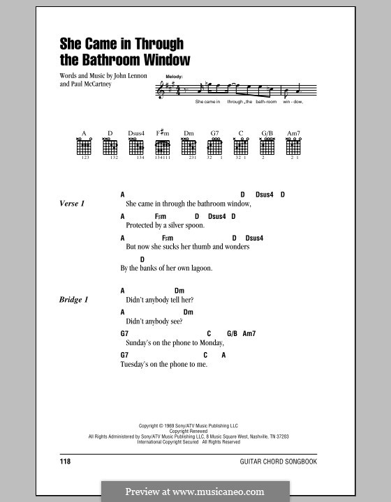 She Came in Through the Bathroom Window (The Beatles): Lyrics and chords (with chord boxes) by John Lennon, Paul McCartney