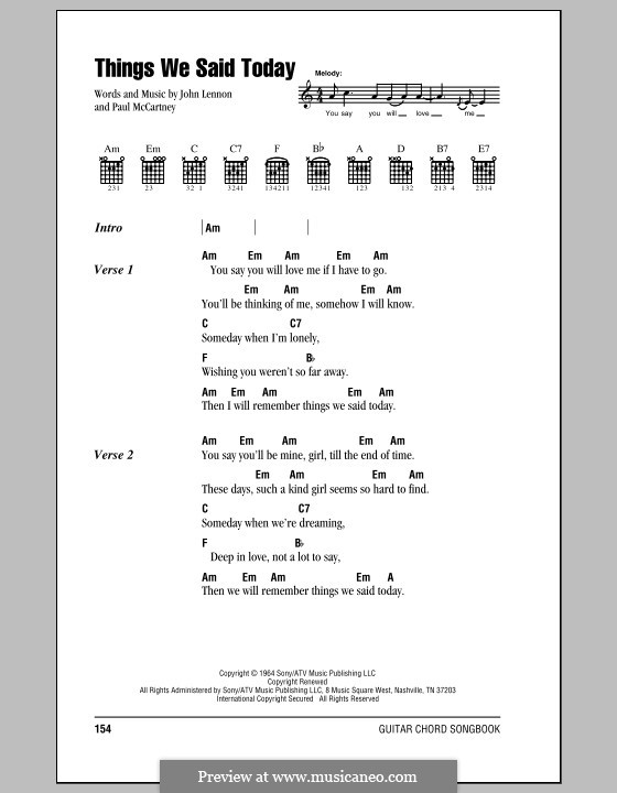 Things We Said Today (The Beatles): Lyrics and chords (with chord boxes) by John Lennon, Paul McCartney