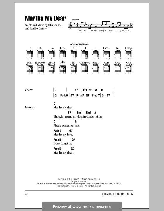 Martha My Dear (The Beatles): Lyrics and chords (with chord boxes) by John Lennon, Paul McCartney