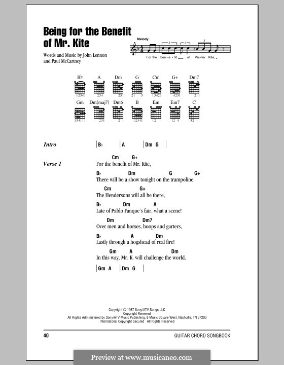 Being for the Benefit of Mr Kite (The Beatles): Lyrics and chords (with chord boxes) by John Lennon, Paul McCartney