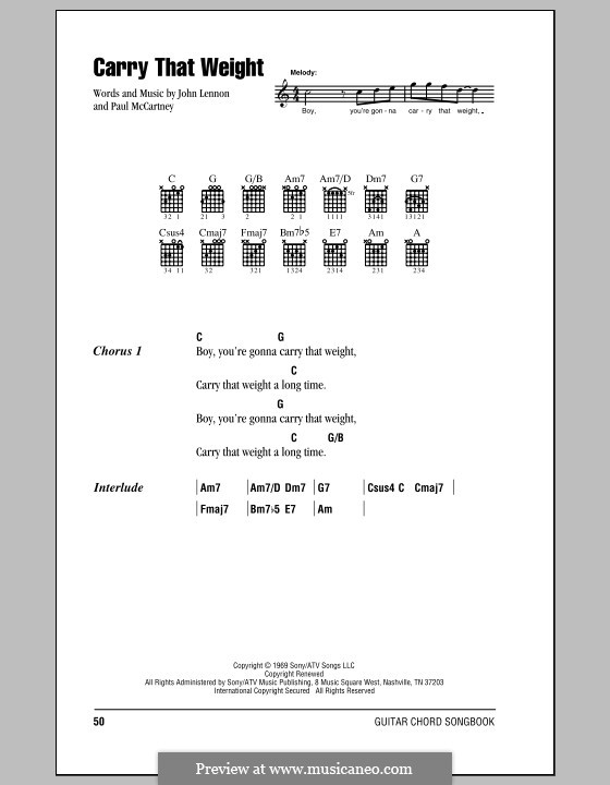 Carry That Weight (The Beatles): Lyrics and chords (with chord boxes) by John Lennon, Paul McCartney