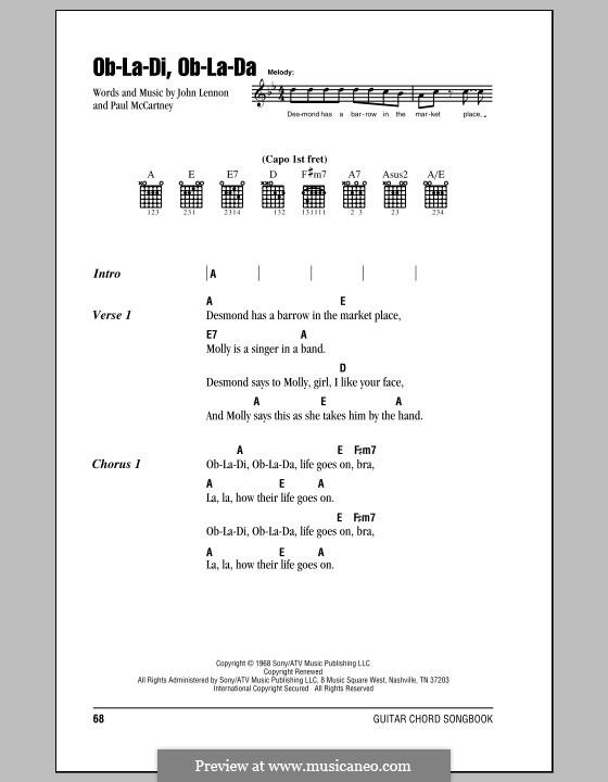 Ob-La-Di, Ob-La-Da (The Beatles): Lyrics and chords (with chord boxes) by John Lennon, Paul McCartney
