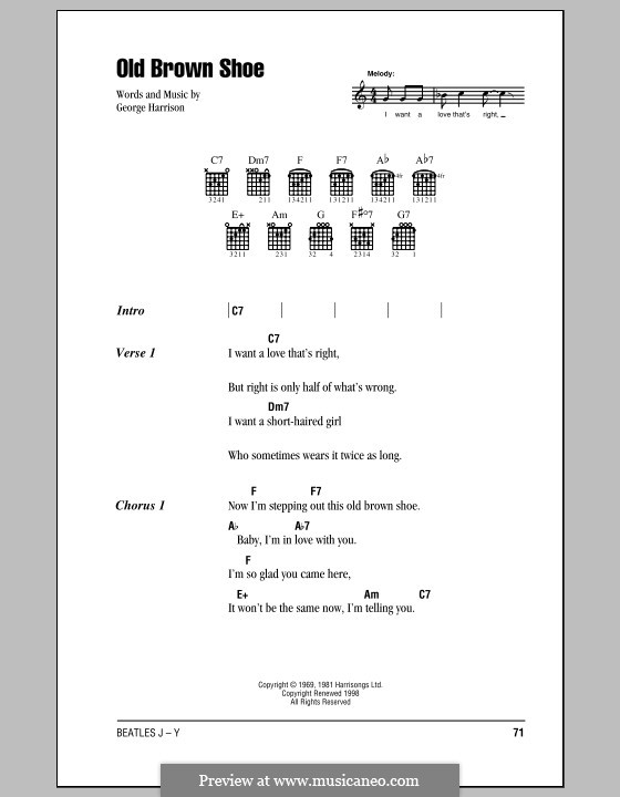 Old Brown Shoe (The Beatles): Lyrics and chords (with chord boxes) by George Harrison