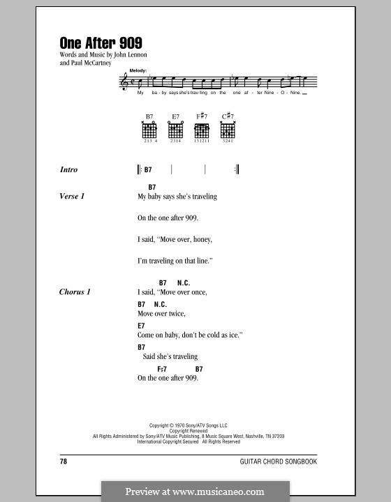 One After 909 (The Beatles): Lyrics and chords (with chord boxes) by John Lennon, Paul McCartney