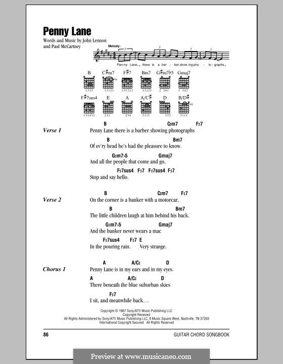 Penny Lane (The Beatles): Lyrics and chords by John Lennon, Paul McCartney
