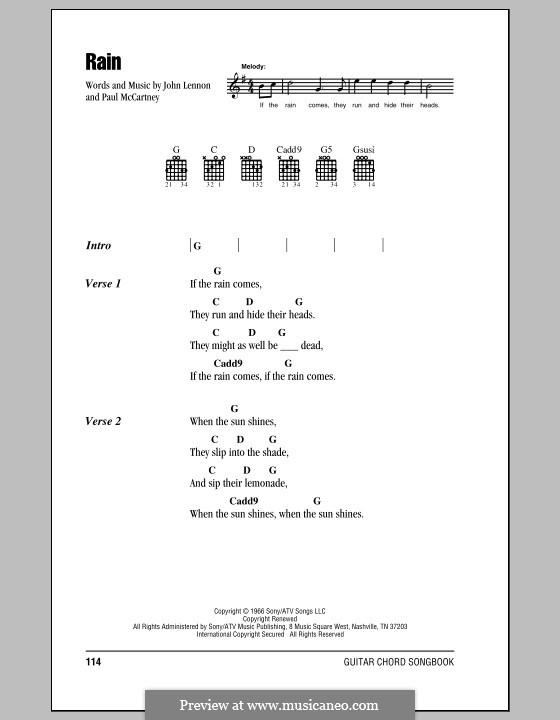 Rain (The Beatles): Lyrics and chords (with chord boxes) by John Lennon, Paul McCartney
