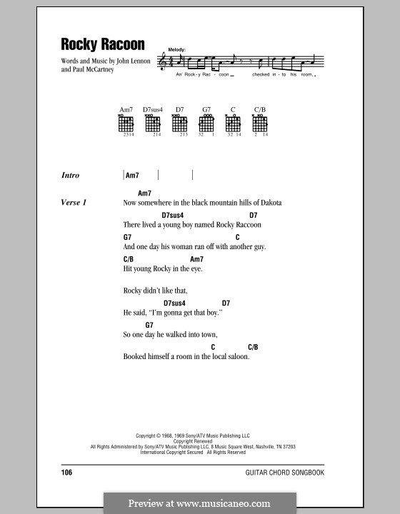 Rocky Raccoon (The Beatles): Lyrics and chords (with chord boxes) by John Lennon, Paul McCartney
