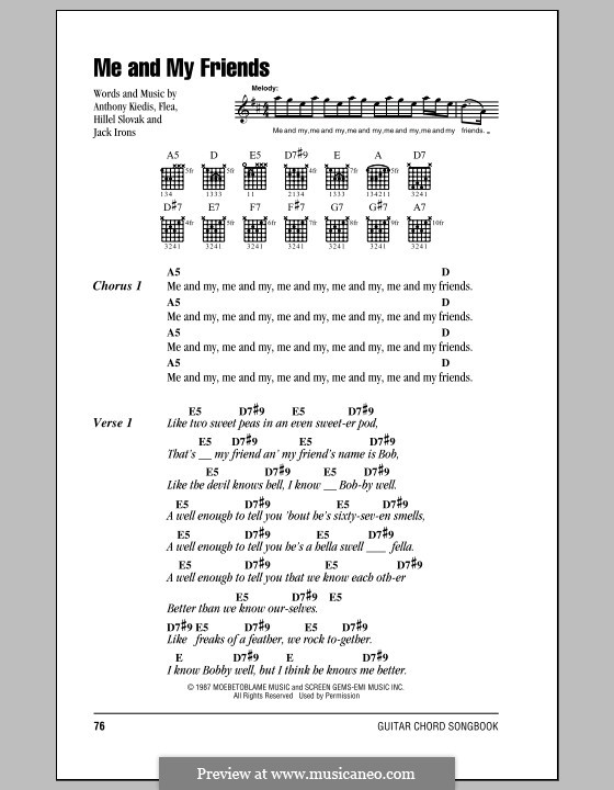 Me and My Friends (Red Hot Chili Peppers): Lyrics and chords (with chord boxes) by Flea, Anthony Kiedis, Hillel Slovak, Jack Irons