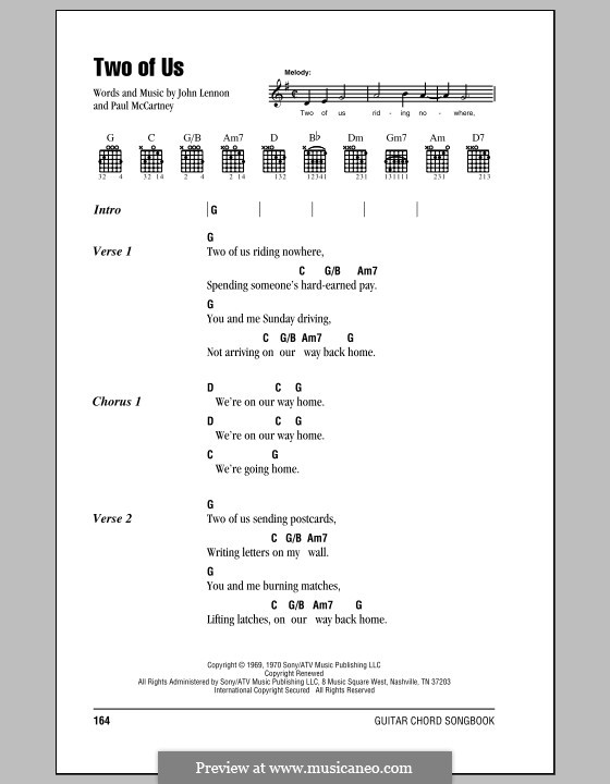 Two of Us (The Beatles): Lyrics and chords (with chord boxes) by John Lennon, Paul McCartney