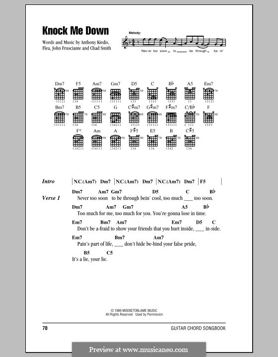Knock Me Down (Red Hot Chili Peppers): Lyrics and chords (with chord boxes) by Flea, Anthony Kiedis, Chad Smith, John Frusciante