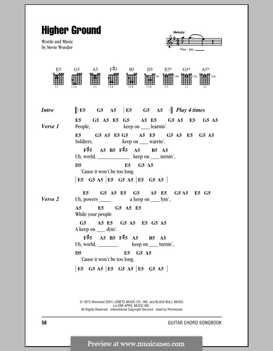 Higher Ground: Lyrics and chords (with chord boxes) by Stevie Wonder