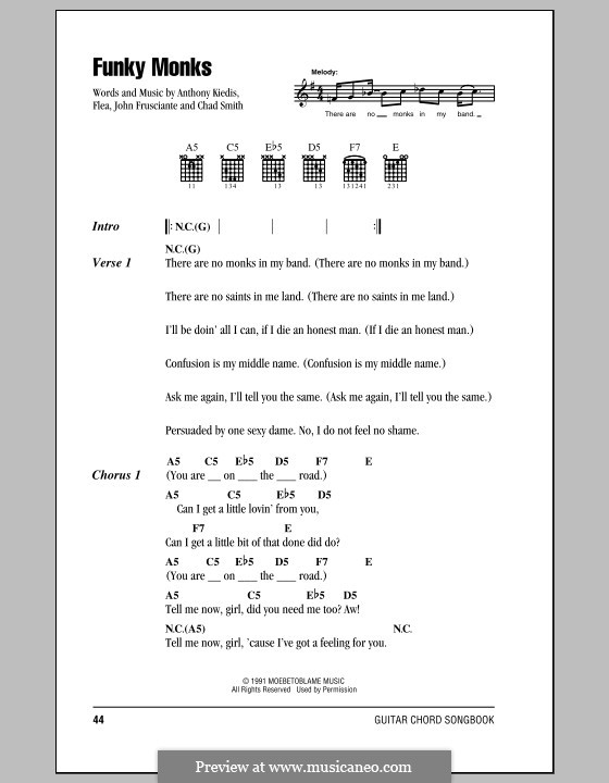 Funky Monks (Red Hot Chili Peppers): Lyrics and chords (with chord boxes) by Flea, Anthony Kiedis, Chad Smith, John Frusciante