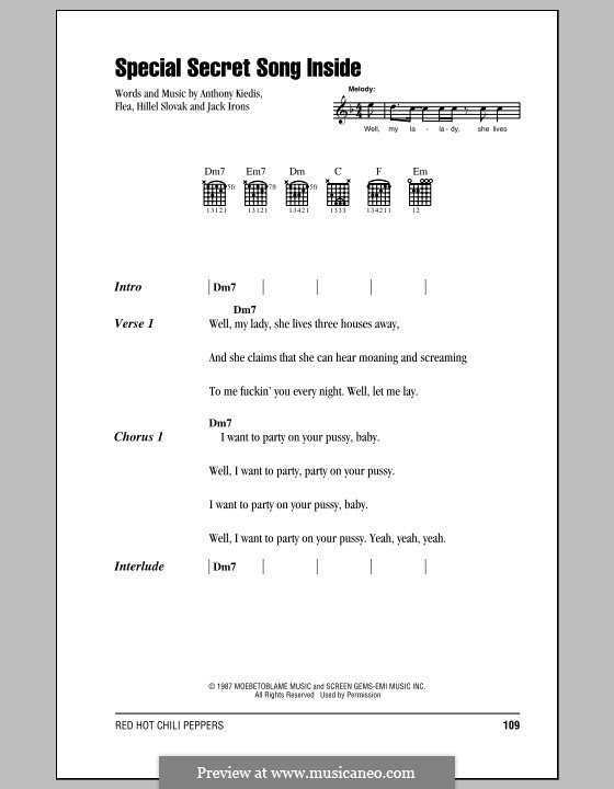 Special Secret Song Inside (Red Hot Chili Peppers): Lyrics and chords (with chord boxes) by Flea, Anthony Kiedis, Hillel Slovak, Jack Irons