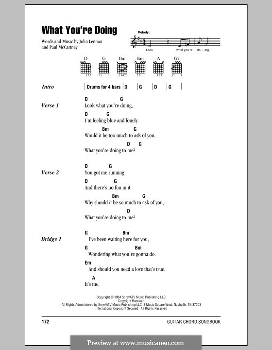 What You're Doing (The Beatles): Lyrics and chords (with chord boxes) by John Lennon, Paul McCartney
