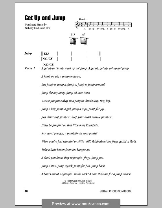 Get Up and Jump (Red Hot Chili Peppers): Lyrics and chords (with chord boxes) by Flea, Anthony Kiedis