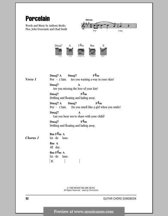 Porcelain (Red Hot Chili Peppers): Lyrics and chords (with chord boxes) by Flea, Anthony Kiedis, Chad Smith, John Frusciante