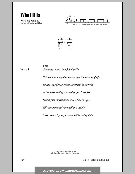 What It Is (Red Hot Chili Peppers): Lyrics and chords (with chord boxes) by Flea, Anthony Kiedis