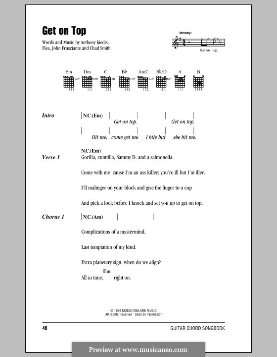 Get on Top (Red Hot Chili Peppers): Lyrics and chords (with chord boxes) by Flea, Anthony Kiedis, Chad Smith, John Frusciante