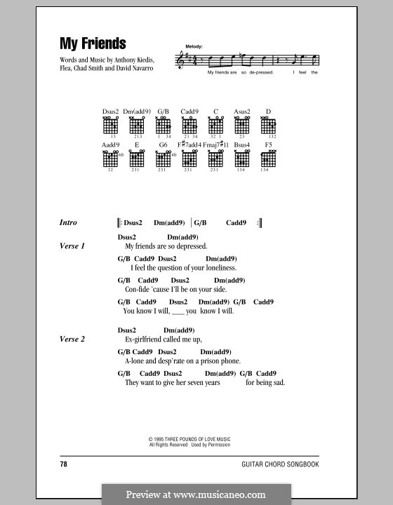 My Friends (Red Hot Chili Peppers): Lyrics and chords (with chord boxes) by Flea, Anthony Kiedis, Chad Smith, Dave Navarro