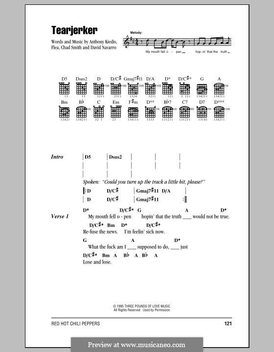 Tearjerker (Red Hot Chili Peppers): Lyrics and chords (with chord boxes) by Flea, Anthony Kiedis, Chad Smith, Dave Navarro