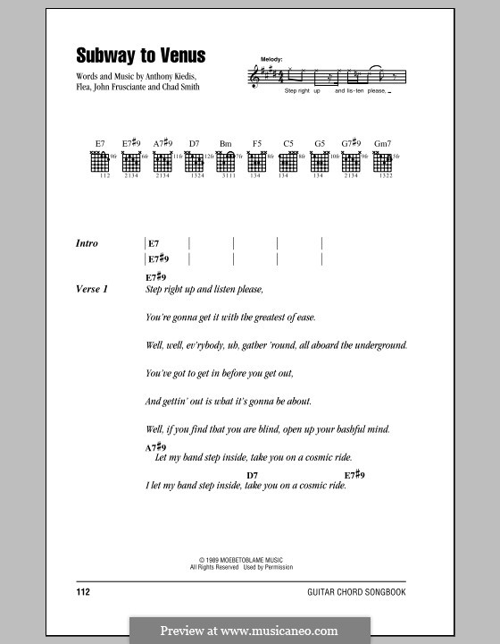 Subway to Venus (Red Hot Chili Peppers): Lyrics and chords (with chord boxes) by Flea, Anthony Kiedis, Chad Smith, John Frusciante