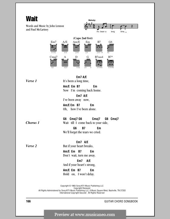 Wait (The Beatles): Lyrics and chords (with chord boxes) by John Lennon, Paul McCartney