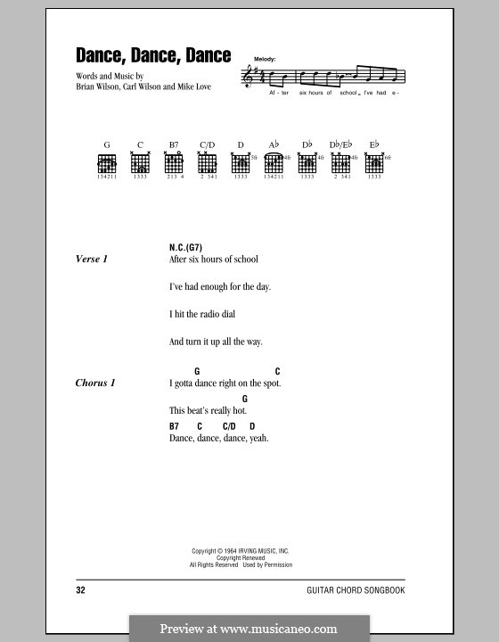 Dance, Dance, Dance (The Beach Boys): Lyrics and chords (with chord boxes) by Brian Wilson, Carl Wilson, Mike Love
