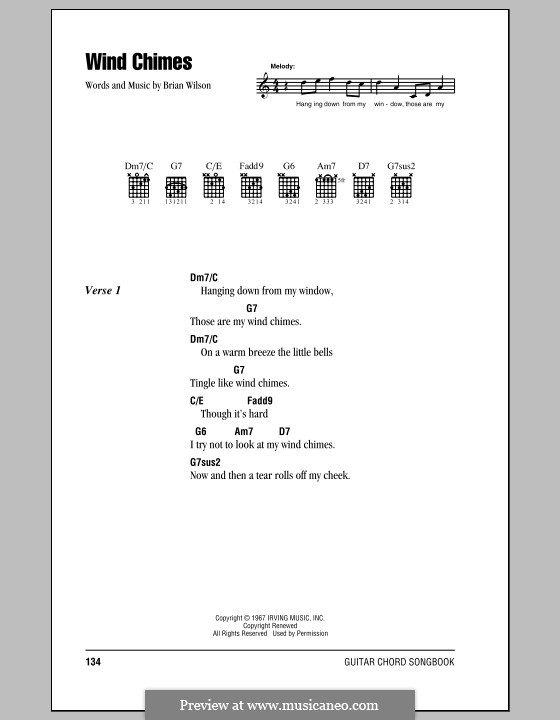 Wind Chimes (The Beach Boys): Lyrics and chords (with chord boxes) by Brian Wilson, Van Dyke Parks