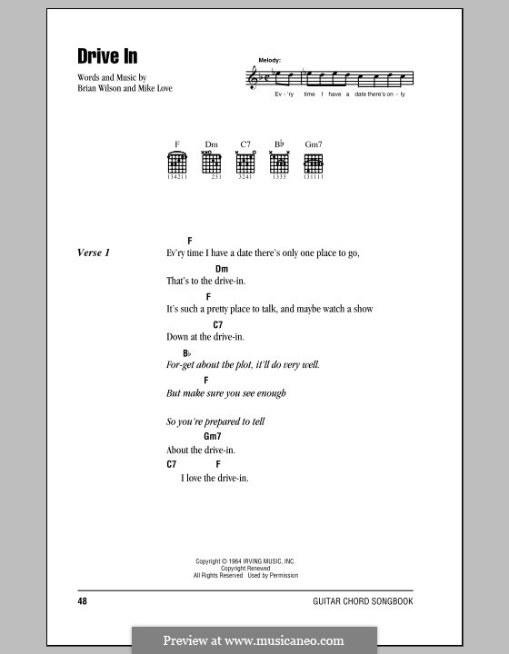 Drive in (The Beach Boys) by B. Wilson, M. Love - sheet music on ...