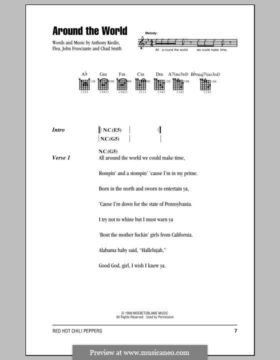 Around the World (Red Hot Chili Peppers): Lyrics and chords (with chord boxes) by Flea, Anthony Kiedis, Chad Smith, John Frusciante