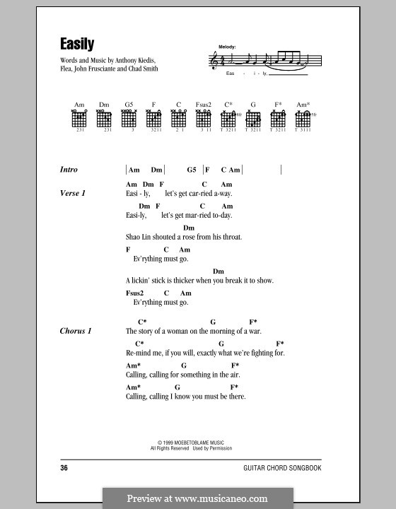 Easily (Red Hot Chili Peppers): Lyrics and chords (with chord boxes) by Flea, Anthony Kiedis, Chad Smith, John Frusciante