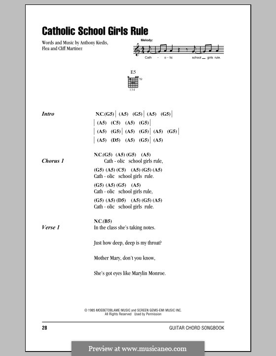 Catholic School Girls Rule (Red Hot Chili Peppers): Lyrics and chords (with chord boxes) by Flea, Anthony Kiedis, Cliff Martinez