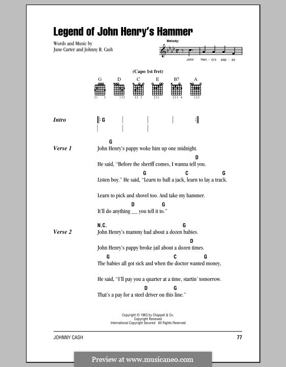 Legend of John Henry's Hammer: Lyrics and chords (with chord boxes) by folklore, Johnny Cash, June Carter