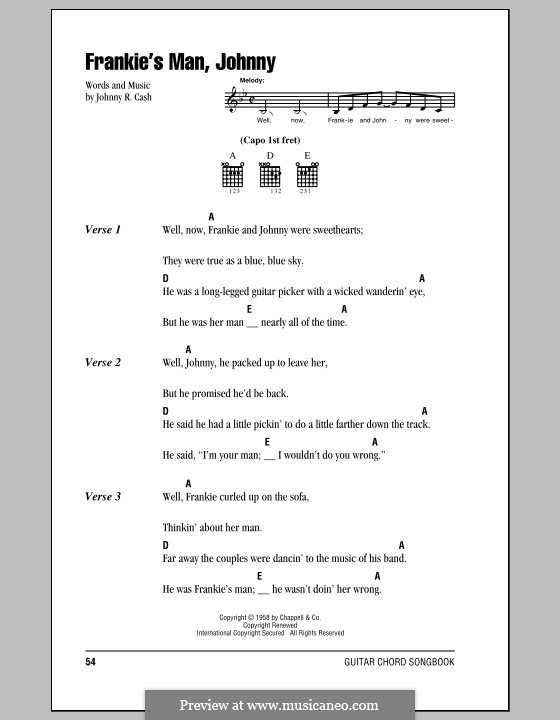 Frankie\'s Man, Johnny by folklore, J. Cash - sheet music on MusicaNeo