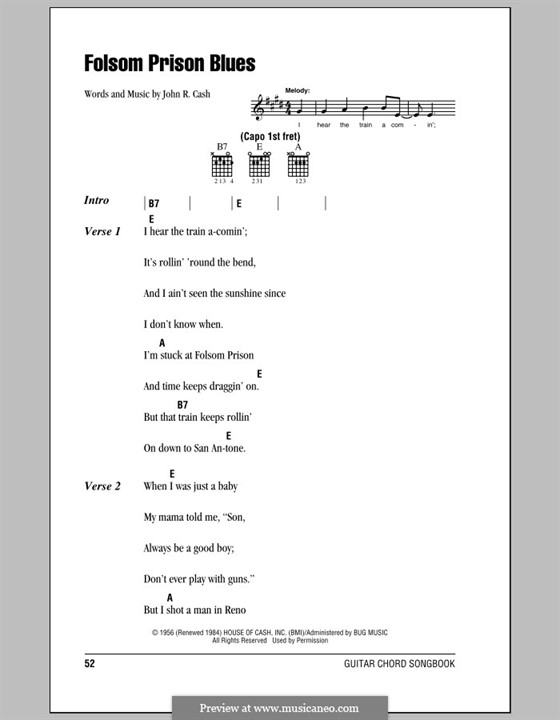 Folsom Prison Blues: Lyrics and chords (with chord boxes) by Johnny Cash