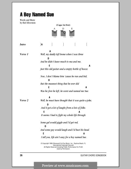 A Boy Named Sue Johnny Cash By S Silverstein Sheet Music On