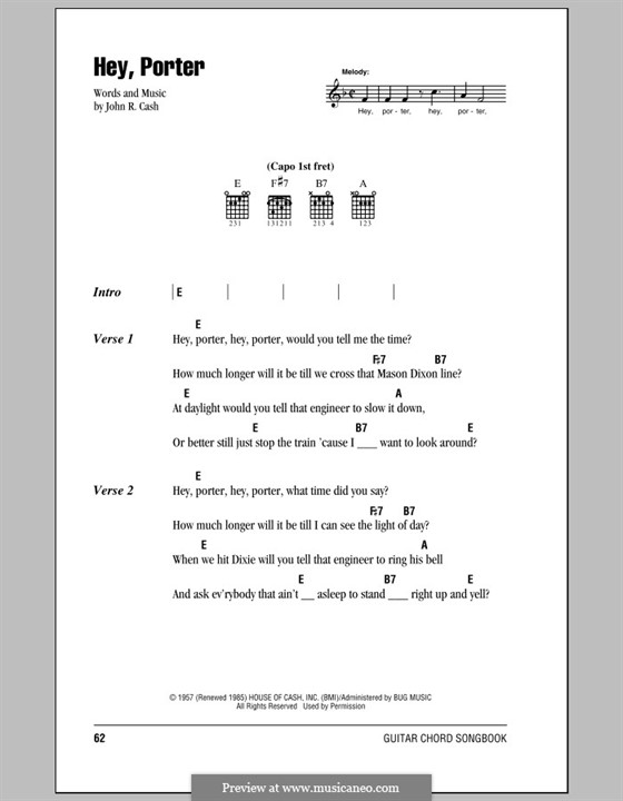 Hey, Porter: Lyrics and chords (with chord boxes) by Johnny Cash