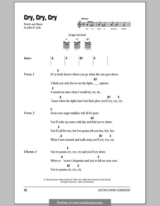 Cry Cry Cry By J Cash Sheet Music On Musicaneo
