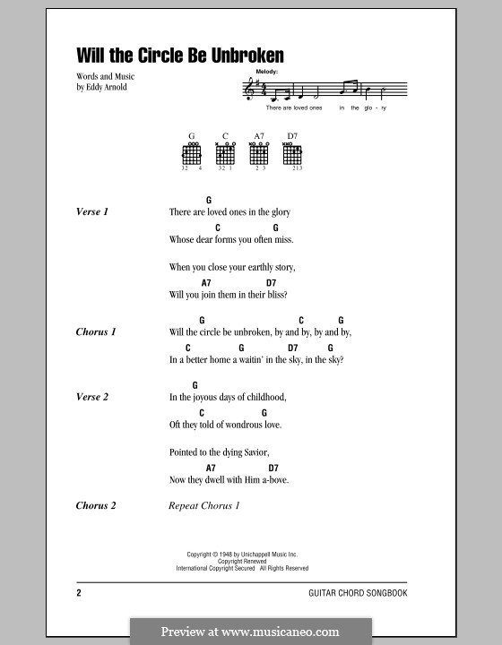 Will the Circle Be Unbroken by E. Arnold - sheet music on MusicaNeo
