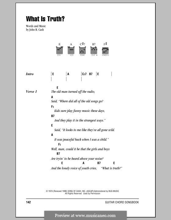 What Is Truth?: Lyrics and chords (with chord boxes) by Johnny Cash