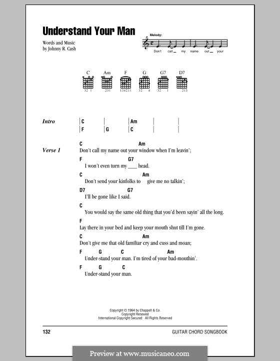 Understand Your Man: Lyrics and chords (with chord boxes) by Johnny Cash