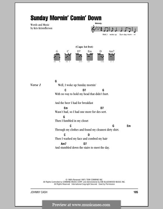 Sunday Mornin' Comin' Down: Lyrics and chords (with chord boxes) by Kris Kristofferson