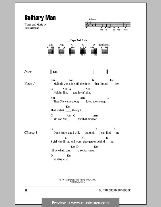 Solitary Man (HIM): Lyrics and chords (with chord boxes) by Neil Diamond