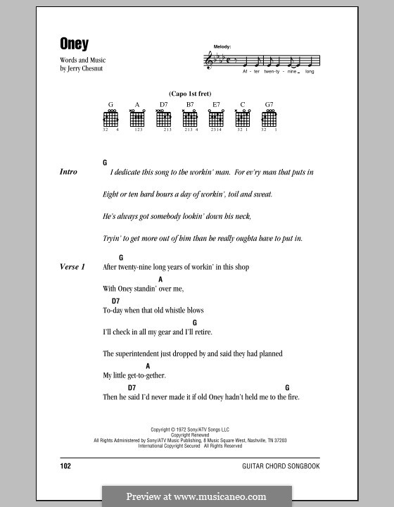 Oney (Johnny Cash): Lyrics and chords (with chord boxes) by Jerry Chesnut