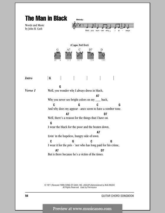 The Man in Black: Lyrics and chords (with chord boxes) by Johnny Cash