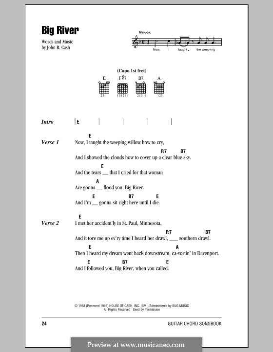 Big River: Lyrics and chords (with chord boxes) by Johnny Cash