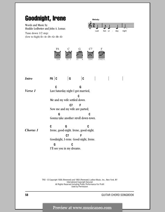 Goodnight, Irene by H. Ledbetter, J.A. Lomax - sheet music on MusicaNeo