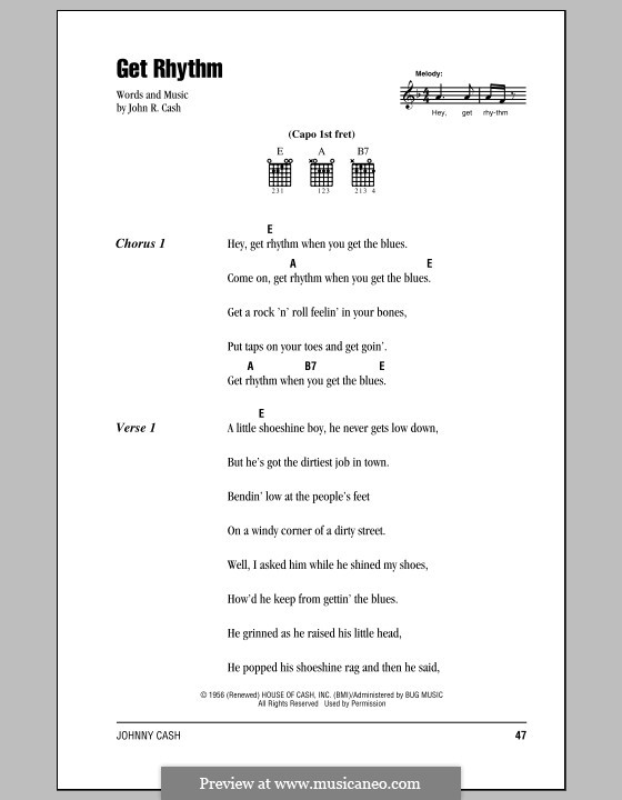 Get Rhythm By J Cash Sheet Music On Musicaneo