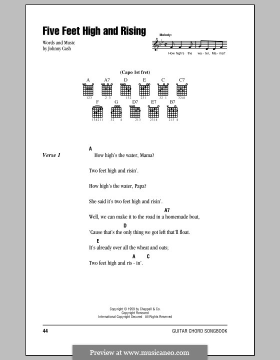Five Feet High And Rising Lyrics And Chords With Chord Bo By Johnny
