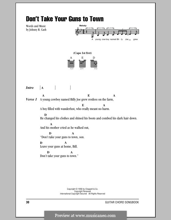 Don't Take Your Guns To Town: Lyrics and chords (with chord boxes) by Johnny Cash